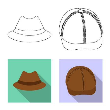 Vector illustration of headgear and cap logo. Collection of headgear and accessory stock vector illustration. Illustration