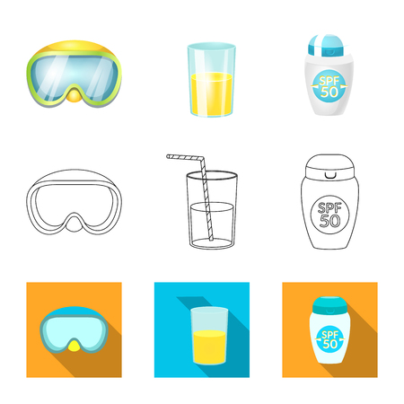 Isolated object of equipment and swimming symbol. Set of equipment and activity vector icon for stock.