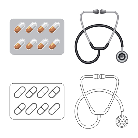 Isolated object of pharmacy and hospital icon. Collection of pharmacy and business stock vector illustration.