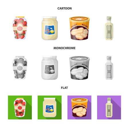 Vector illustration of can and food symbol. Set of can and package stock symbol for web.
