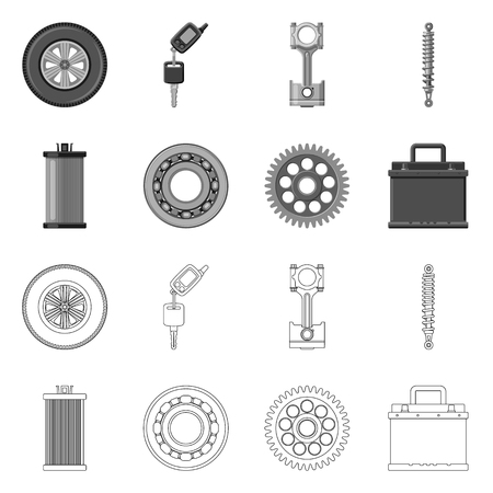 Isolated object of auto and part logo. Collection of auto and car stock vector illustration. 일러스트