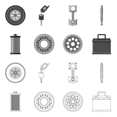 Objet isolé du logo auto et pièce. Collection d'illustration vectorielle stock auto et voiture.