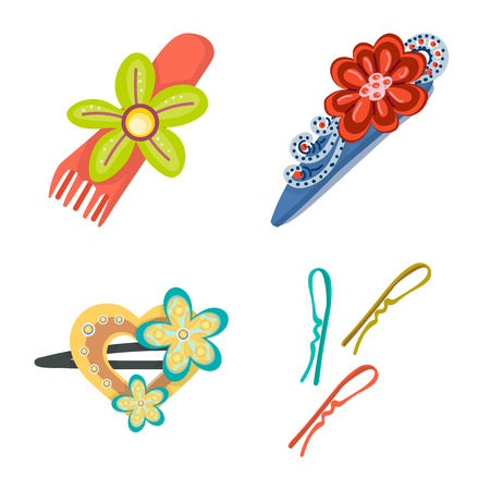 Vector illustration of barrette and hair logo. Collection of barrette and accessories stock symbol for web.