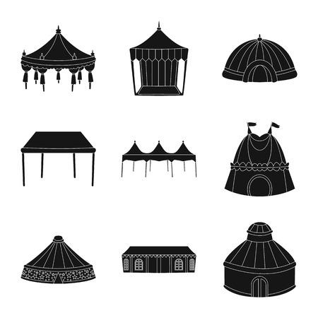 Disegno vettoriale del logo per esterni e architettura. Set di illustrazione vettoriale d'archivio all'aperto e rifugio.