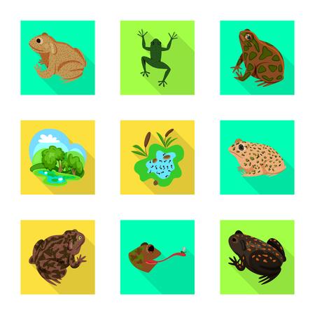 Isolated object of wildlife and bog symbol. Set of wildlife and reptile stock symbol for web. Vektorgrafik