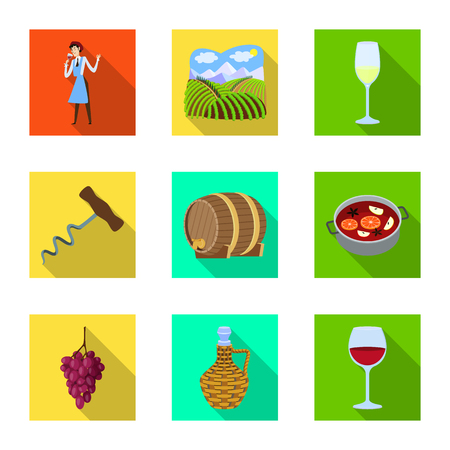 Vector illustration of farm and vineyard symbol. Collection of farm and product vector icon for stock.