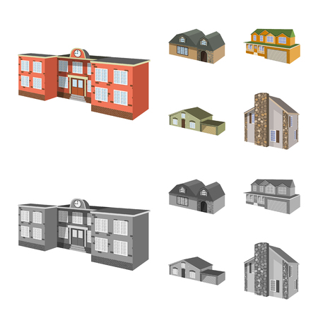 Vector design of facade and housing logo. Set of facade and infrastructure stock symbol for web. Illustration