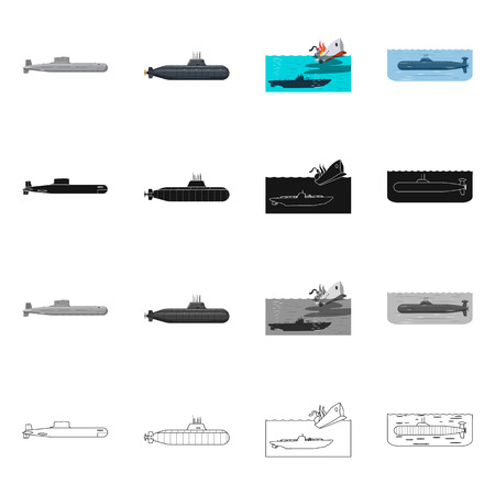 Vector design of war  and ship symbol. Set of war  and fleet vector icon for stock. Ilustrace