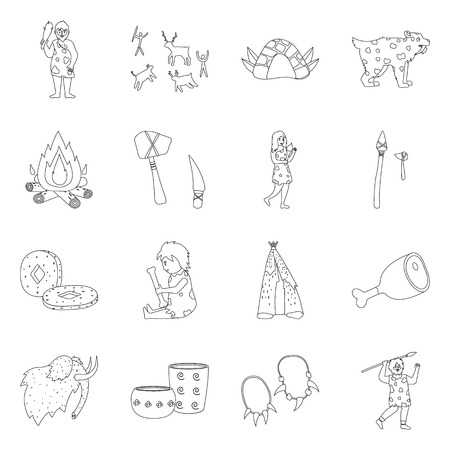 Isolated object of ancient and primitive symbol. Set of ancient and era stock vector illustration.