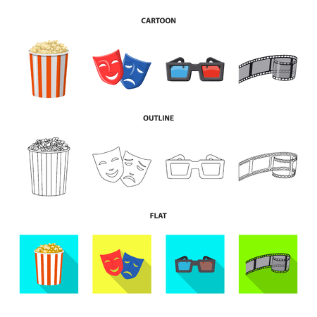 Vector design of television and filming icon. Collection of television and viewing stock symbol for web.