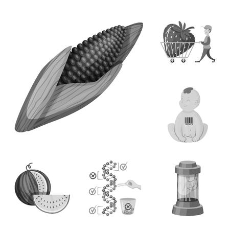 Vector design of transgenic and organic symbol. Set of transgenic and synthetic stock symbol for web. Illustration