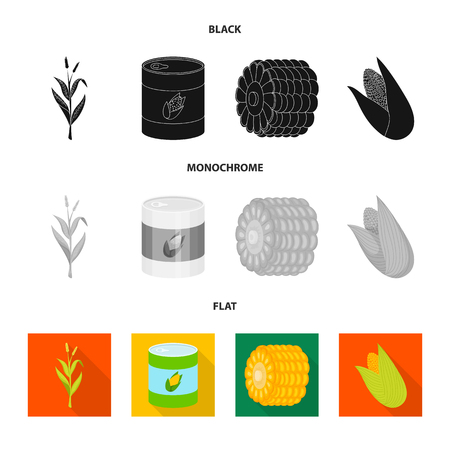 Vector design of cornfield and vegetable. Collection of cornfield and vegetarian vector icon for stock. Ilustrace