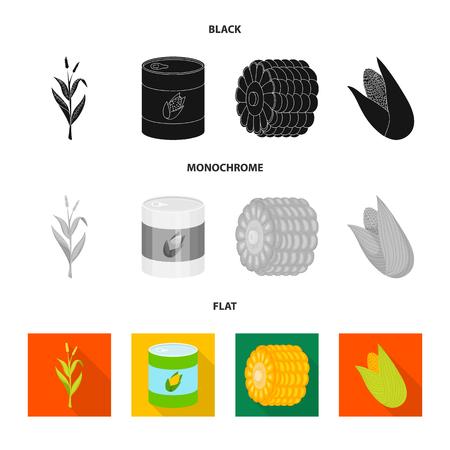 Vector design of cornfield and vegetable. Collection of cornfield and vegetarian vector icon for stock. Ilustração