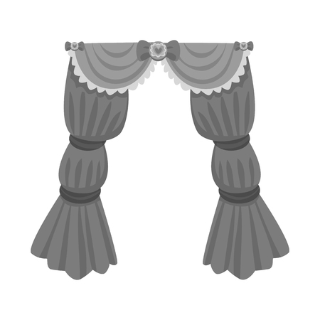 Vector illustration of curtain and apartment sign. Collection of curtain and jalousie stock symbol for web.
