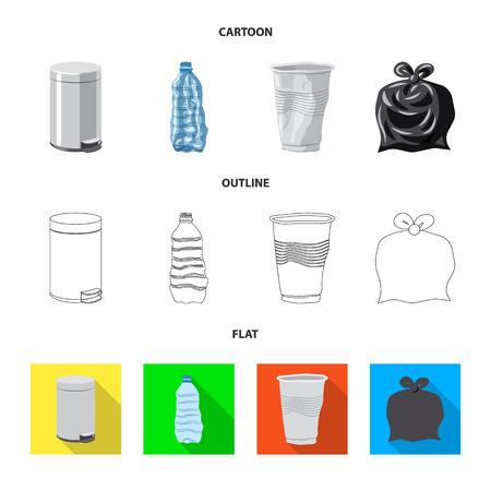 Vector illustration of dump  and sort symbol. Set of dump  and junk stock symbol for web. Vettoriali