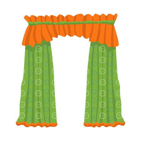 Vector illustration of drapes and cornice sign. Set of drapes and cosiness stock symbol for web.
