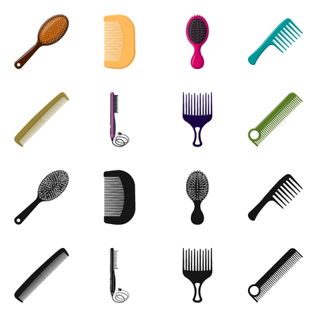 Isolated object of brush and hair sign. Collection of brush and hairbrush stock vector illustration.