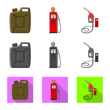 Vector illustration of oil and gas symbol. Collection of oil and petrol vector icon for stock. Illustration