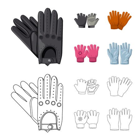 Isolated object of glove and winter sign. Collection of glove and equipment stock symbol for web.