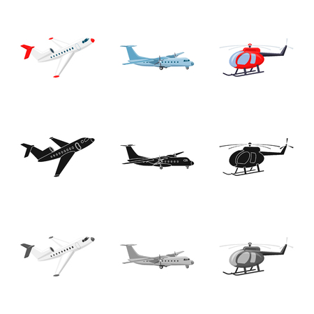 Isolated object of plane and transport logo. Collection of plane and sky stock symbol for web.