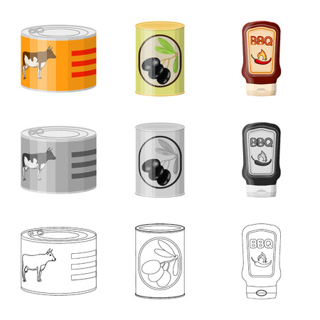 Vector illustration of can and food symbol. Collection of can and package stock vector illustration.