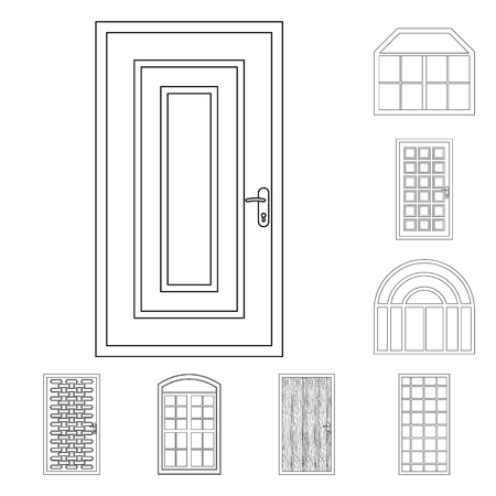 Vector design of door and front symbol. Set of door and wooden stock vector illustration.