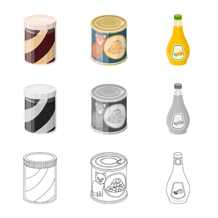 Vector design of can and food icon. Set of can and package stock vector illustration. Stock Illustratie