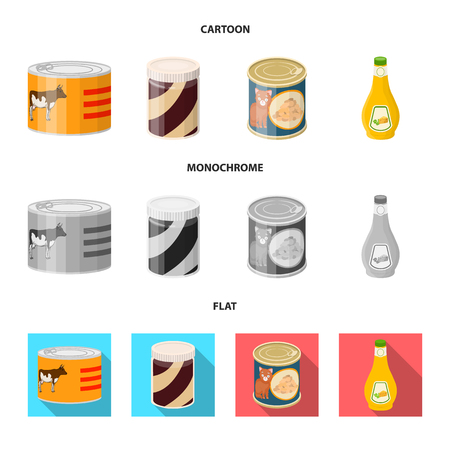 Isolated object of can and food symbol. Collection of can and package vector icon for stock.