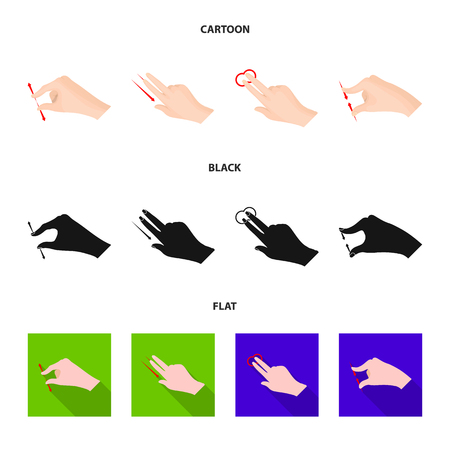 Vector design of touchscreen and hand sign. Set of touchscreen and touch vector icon for stock. Illusztráció
