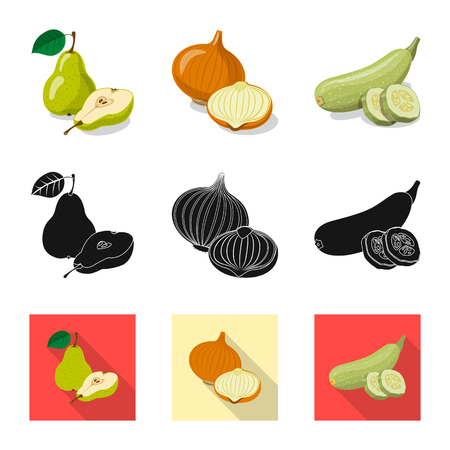 Vector design of vegetable and fruit sign. Collection of vegetable and vegetarian vector icon for stock. Ilustracja
