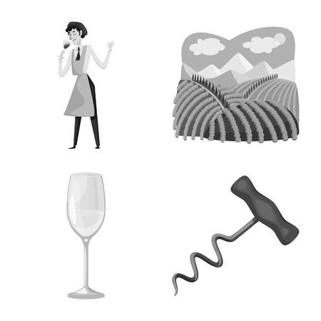 Illustrazione vettoriale di timbro e ristorante. Set di bollo e simbolo di borsa vigneto per il web. Vettoriali