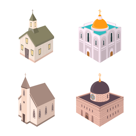 Vector illustration of architecture and building icon. Collection of architecture and clergy stock vector illustration.