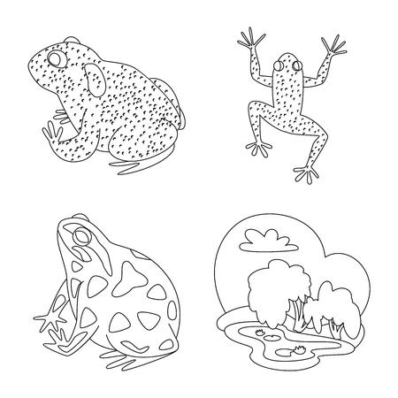 Vector illustration of amphibian and animal. Set of amphibian and nature vector icon for stock.