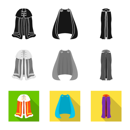 Isolated object of material and clothing symbol. Collection of material and garment stock symbol for web. Ilustração