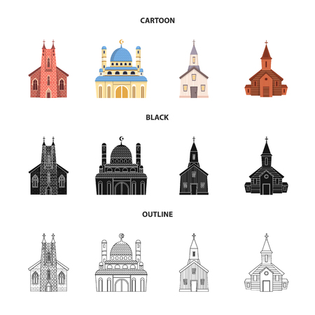 Isolated object of cult and temple. Set of cult and parish vector icon for stock. Ilustracje wektorowe