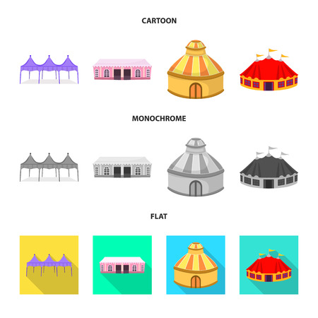 Vector illustration of roof and folding icon. Set of roof and architecture stock symbol for web. Illustration