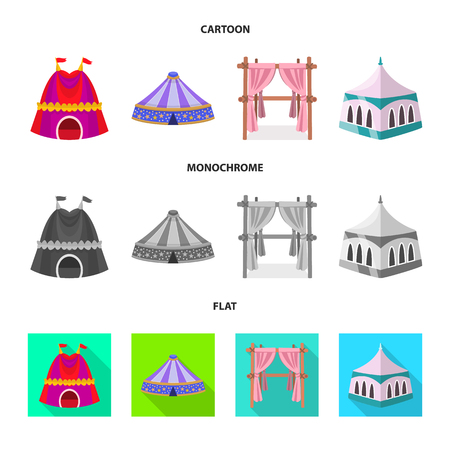 Vector illustration of roof and folding icon. Collection of roof and architecture stock symbol for web.