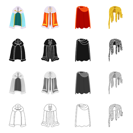 Isolated object of material and clothing sign. Set of material and garment stock vector illustration.