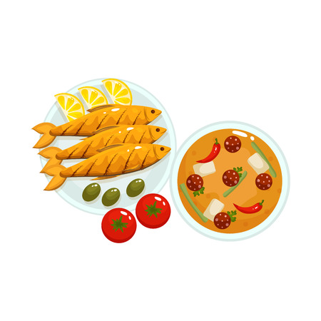 Vector design of food and fish icon. Collection of food and dishes stock symbol for web.