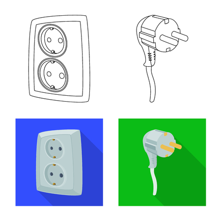 Vector illustration of electricity and electric symbol. Set of electricity and energy stock symbol for web.
