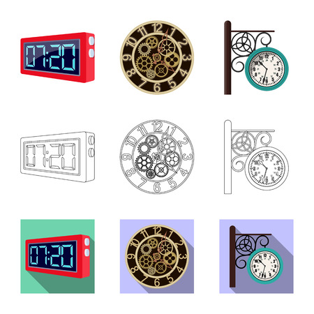 Isolated object of clock and time symbol. Set of clock and circle vector icon for stock. Vektoros illusztráció