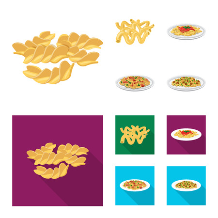 Vector design of pasta and carbohydrate sign. Set of pasta and macaroni stock vector illustration.