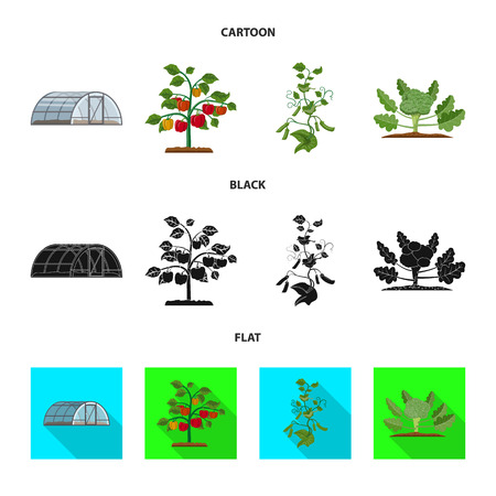 Vector illustration of greenhouse and plant sign. Collection of greenhouse and garden vector icon for stock.