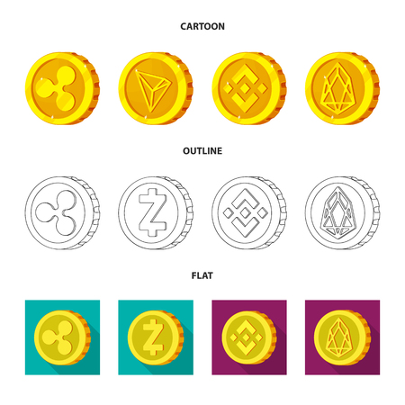 Vector design of cryptocurrency and coin logo. Set of cryptocurrency and crypto stock vector illustration.