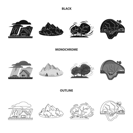 Vector illustration of natural and disaster symbol. Set of natural and risk stock symbol for web. Illustration