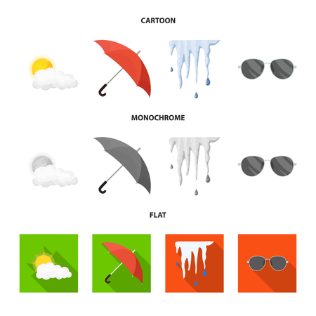 Vector design of weather and climate logo. Collection of weather and cloud stock vector illustration. Illusztráció