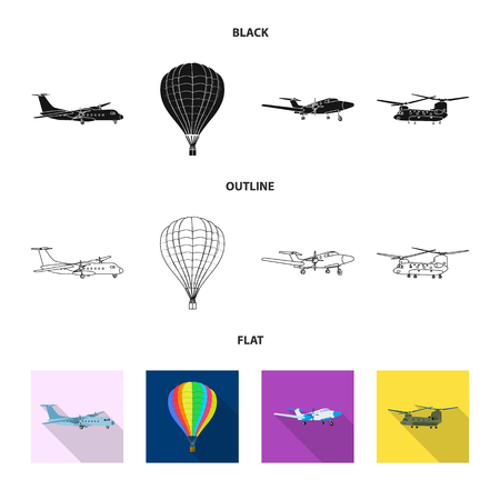 Vector design of plane and transport icon. Set of plane and sky vector icon for stock.