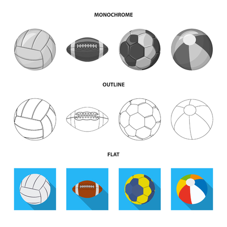 Vector illustration of sport and ball symbol. Set of sport and athletic stock vector illustration. Vettoriali