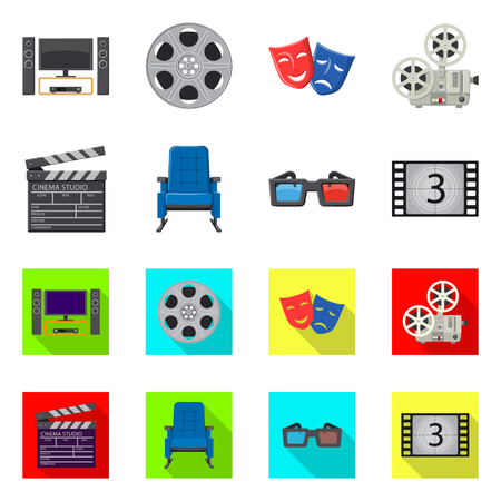 Projekt wektor znak telewizji i filmowania. Zestaw telewizji i oglądania wektor ikona na magazynie. Ilustracje wektorowe