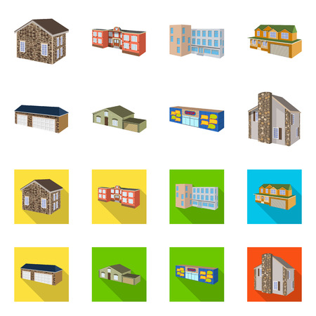 Isolated object of facade and housing symbol. Collection of facade and infrastructure stock vector illustration.
